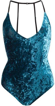 Fleur Du Mal velvet bodysuit - Blue velvet bodysuit from Fleur du Mal. Underwear and lingerie must be tried on over your own garments.