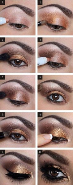 Glam Gold Eyeshadow Tutorial For Beginners - | How To Make Eyes Look Sexy And Dramatic by Makeup Tutorials at http://makeuptutorials.com/12-colorful-eyeshadow-tutorials-brown-eyes/