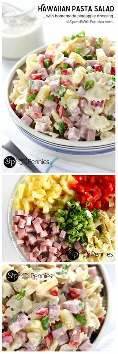 Hawaiian Pasta Salad is literally one of the most delicious cold pasta salad recipes! Pasta combined with ham and sweet pineapple and tossed with a delicious homemade dressing is the perfect combination! Cold Pasta Salads, Cold Pasta Recipes, Kid Pasta Salad, Cold Pasta Dishes, Homemade Pasta Salad, Healthy Pasta Salad, Soup And Salad, Spinach Salads, Spaghetti Salad