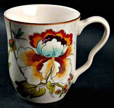 222 Fifth Bella Vista Mug Colorful Floral Dragonfly Fine China 4 1/4 in Tall  #222Fifth