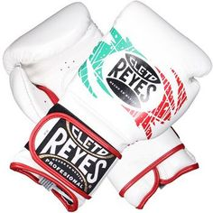 Cleto Reyes Limited Edition Velcro Mexico Flag Boxing Gloves - White