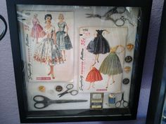 I made this shadow box from vintage scissors, buttons, and patterns. The scissor… I made this shadow box from vintage scissors, buttons, and patterns. Sewing Room Decor, My Sewing Room, Sewing Art, Sewing Rooms, Sewing Crafts, Sewing Spaces, Vintage Sewing Notions, Vintage Sewing Patterns, Shadow Box Memory