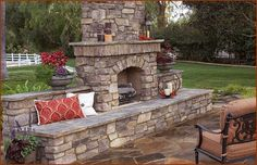 Eldorado Stone Wood Burning Fireplace, pre-formed concrete kit, with veneered stone on face.