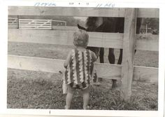 Antique Vintage Photograph Adorable Little Baby From Back Visiting Pet Horse