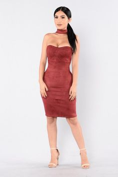 Case Of The Ex Dress - Wine. Size: M