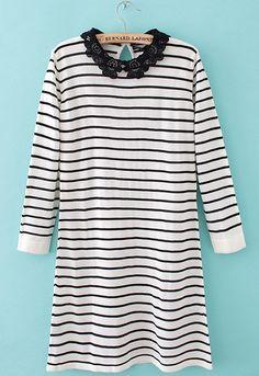 White and Black Strips Contrast Crochet Collar Dress