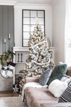 Flocked Modern Rustic Christmas Tree