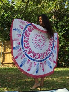 Round Mandala Beach Towel with Fringe by KateStClaireLivingCo Beach Towel, Beach Mat, Fade Color, Summer Dream, Mandala, Outdoor Blanket, Colours, Dreams, Pink