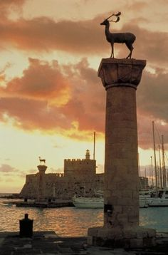 Mandrake Marina with Rhodian Deer Gates in Rhodes, Greece