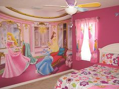 Love this mural!  Kids Bedroom Ideas with Princess Wall Mural Picture