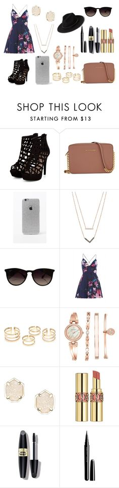 """""""Sin título #784"""" by pinkybunny on Polyvore featuring moda, Michael Kors, LA: Hearts, Ray-Ban, AX Paris, Anne Klein, Kendra Scott, Yves Saint Laurent, Max Factor y Marc Jacobs"""