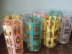 Pastel and gold tone leaf motif vintage tumblers