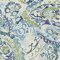 Beautiful green and blue drapery fabric by Belle Maison. This modern drapery fabric is a fun watercolor look paisley fabric perfect for any home decorating project.100,000 Double Rubsv283PREF