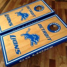 Detroit Lions Go Lions Custom Cornhole boards set