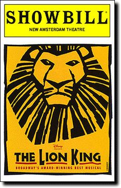 The Lion King...the first broadway show that Kelsey and I went to.  Had dinner with some of the cast before the show too at BB King's across the street form the the theatre.  NYC 2003