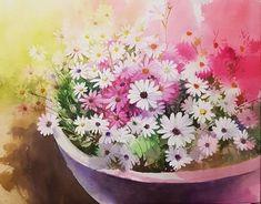아트컬렉션 - <김선희 화가 컬렉... : 카카오스토리 Watercolor Artists, Watercolor Flowers, Watercolor Paintings, Mini Canvas, All Flowers, Lovers Art, Painting & Drawing, Still Life, Daisy