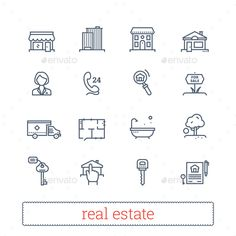 Real Estate Thin Line Icons