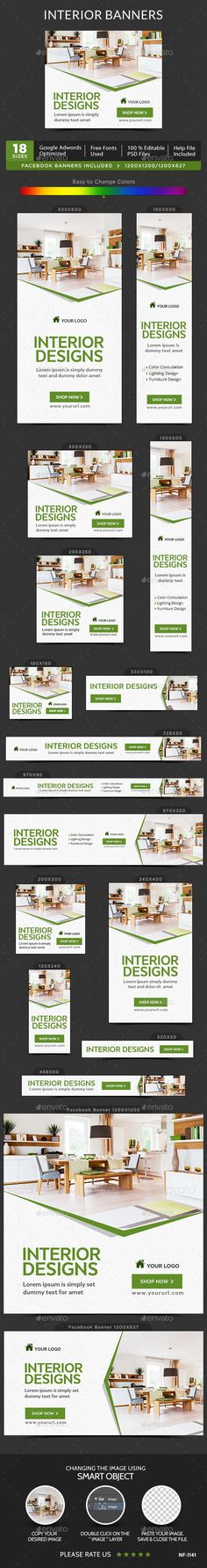 Interior Banners — Photoshop PSD #marketing #adroll • Available here → https://graphicriver.net/item/interior-banners/15123024?ref=pxcr