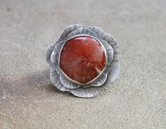Devotion ~ Sterling Silver & Fossil Coral Flower Ring by Z Leslie