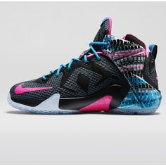 designer fashion e8eac ae578 LeBron 12 Shoes for Kids - Black Pink   DICK S Sporting Goods Vintage Nike,