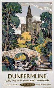 Dunfermline, Scotland, Vintage Scottish Railway Travel Poster Print
