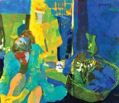 Mujer en Bata, óleo sobre lienzo, 70x80cm, 2011.  www.gracielagenoves.com.ar