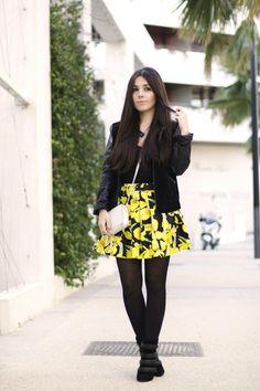 Yellow skirt, bombers, Mango http://lepetitmondedejulie.net