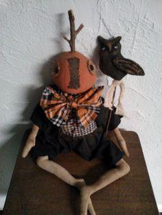 Primitive Folk Art Pumpkin Head Doll and Owl by primitivewishfuls, $70.00