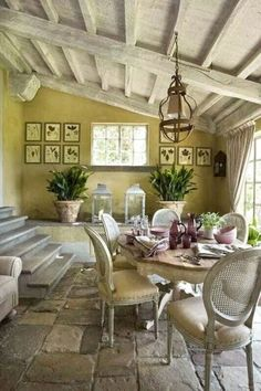 Amazing Elegan French Country Dining Room Design Ideas - Home/Decor/Diy/Design French Country Dining Room, French Country House, Country Living, Country Homes, French Cottage, Country Patio, Country Porches, Southern Porches, Casas Shabby Chic