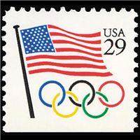 1991 29c Flag with Olympic Rings Bklt Single Mint