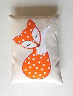 Orange Fox Pillow Decoration, Handmade Applique Fox Cushion