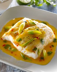 Asian Style Hake with Sweet Chilli, Scallion, Coriander and Lime Butter Sauce (made with Carpenter fish)
