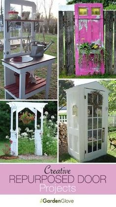 Repurposed Door Projects for the Garden • Lots of ideas & Tutorials! by deena...Love the white door shed! Garden Crafts, Garden Projects, Diy Crafts, Mosaic Projects, Wood Crafts, Dream Garden, Home And Garden, Repurposed Furniture, Repurposed Doors