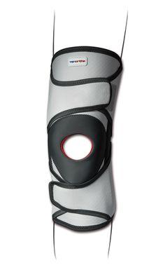 Ginocchiera tubolare con stecche a spirale e stabilizzatore rotuleo. Tessuto in fibra di carbonio elastico e traspirante. per stabilizzazione rotulea, prevenzione durante l'attività sportiva.