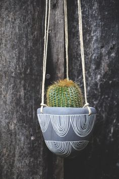 Made To Order // Arc Garland Design Black and White Carved Hanging Planter // Succulent Planter // Cactus Planter