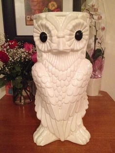 SOLD Isco ceramic owl umbrella stand made in Spain by Kristelstreasures, $65.00