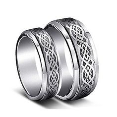His  Hers 8MM6MM Tungsten Carbide Wedding Band Ring Set wLaser Etched Celtic Design >>> Be sure to check out this awesome product.(This is an Amazon affiliate link and I receive a commission for the sales)
