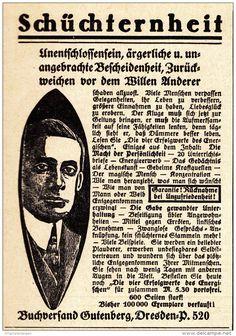 Original-Werbung/ Anzeige 1925 - SCHÜCHTERNHEIT / BUCHVERSAND GUTENBERG - DRESDEN - ca. 75 x 100 mm
