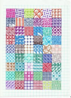 Pattern Page 2 Graph Paper Drawings, Graph Paper Art, Zentangle Drawings, Zentangle Patterns, Pencil Art Drawings, Zentangles, Zen Doodle Patterns, Doodle Borders, Flower Drawings