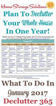 Imprimir gratis de enero de 2017 ordenando calendario con 15 misiones diarias minuto.  Siga todo el plan Declutter 365 proporcionada por Inicio Soluciones de almacenamiento 101 a suprimir elementos de su casa entera en un año.