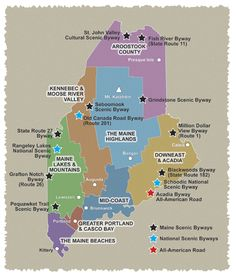 Map of Maine's Scenic Byways, gives you the names so you can Google for more information