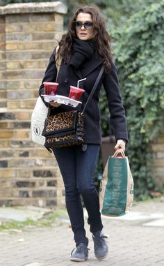 Smooth Operator from Celebrity Street Style  Rachel Weisz picks up smoothies in London wearing jeans, a pea coat and her Christian Louboutin Farida messenger bag.