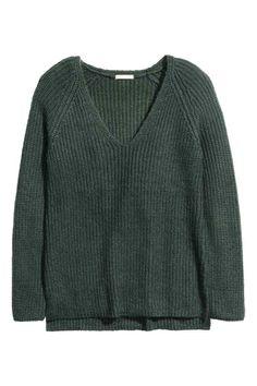 c162b29a9 Camisola de malha canelada - Verde escuro mesclado - SENHORA