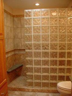 6 Popular glass block bathroom designs : Glass Block Shower Wall Design Ideas