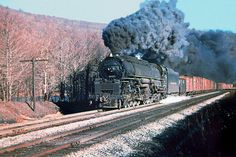 Delaware & Hudson 4-6+6-4 class J Challenger steam locomotive # 1526, is seen hauling a manifest freight train along the mainline at Stillwater, Pennsylvania, 11-09-1951
