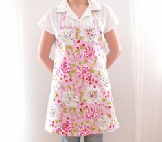 Cotton Apron, Full Apron, Pink Apron, Kitchen Apron, Women's Apron, Hostess Apron, Floral Apron, Peony Flowers, Gift for Her, Ready to Ship
