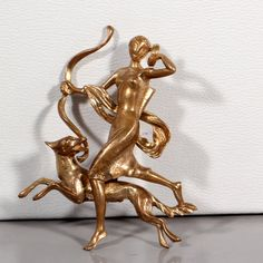 50s Gold Brooch Goddess Diana  Kitsch At the Back by ThisisParis, $130.00 Gold Brooches, Fine Jewelry, Unique Jewelry, Artemis, Kitsch, Mythology, Diana, Minerals, Game