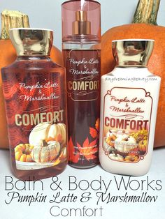 Beauty favorite of the month Bath and Body Works Comfort in Pumpkin Latte & Marshmallow - Lotion, Body Wash, Body Spray Bath Body Works, Bath N Body, Bath And Body Works Perfume, Fall Scents, Bath And Bodyworks, Body Mist, Tips Belleza, Body Lotions, Smell Good