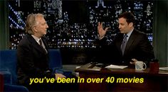 "Jimmy Fallon to Alan Rickman: ""You've been in over 40 movies...."" Alan's reaction is so funny and cute :D"