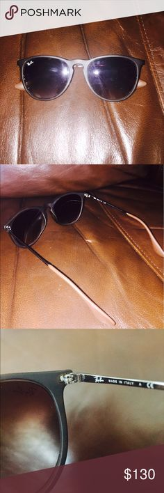 Ray-Ban Erika Classic Sunglasses 100% UV Protection. Matte Tortoise frame and brown gradient lenses. Slightly used, no damage at all, perfect condition. Comes with a standard brown leather Ray-Ban case and a cleaning cloth. Everything is authentic. Ray-Ban Accessories Sunglasses